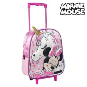 Mochila Escolar 3D com Rodas Minnie Mouse