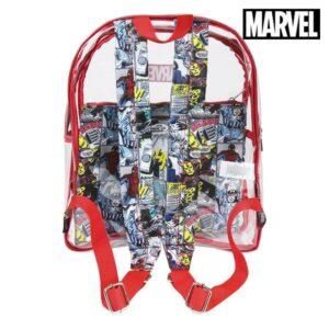 Mochila Escolar Marvel 72901 Transparente Vermelho