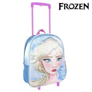 Mochila Escolar 3D com Rodas Frozen
