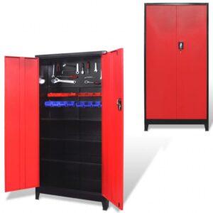 Armário de ferramentas 2 portas aço 90x40x180 cm preto vermelho - PORTES GRÁTIS