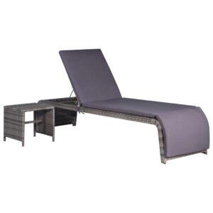 Espreguiçadeira com mesa vime PE cinzento - PORTES GRÁTIS
