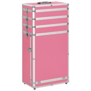 Trólei de maquilhagem alumínio cor-de-rosa - PORTES GRÁTIS
