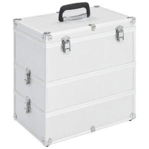 Caixa de maquilhagem 37x24x40 cm alumínio prateado - PORTES GRÁTIS