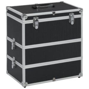Caixa de maquilhagem 37x24x40 cm alumínio preto - PORTES GRÁTIS