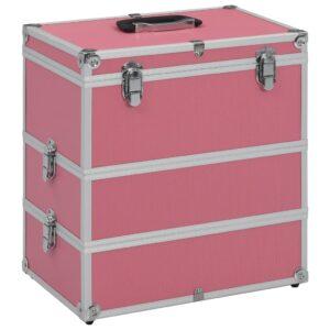 Caixa de maquilhagem 37x24x40 cm alumínio cor-de-rosa - PORTES GRÁTIS