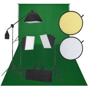 Kit de estúdio: pano verde de fundo, 3 lâmpadas de luz diária  - PORTES GRÁTIS