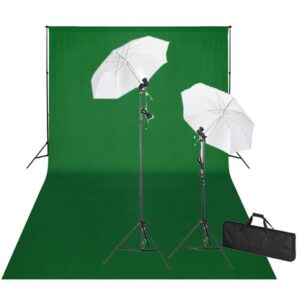 Kit de estúdio com fundo verde 600x300 cm e luzes  - PORTES GRÁTIS