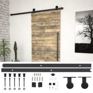 Kit de ferragens para porta deslizante 183 cm aço preto - PORTES GRÁTIS