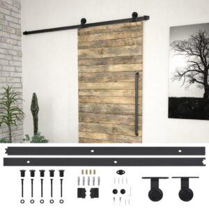 Kit de ferragens para porta deslizante 200 cm aço preto - PORTES GRÁTIS