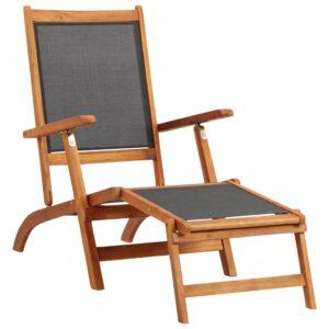 Espreguiçadeira madeira acácia maciça e textilene - PORTES GRÁTIS