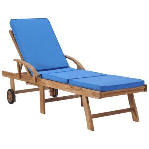 Espreguiçadeira com almofadão madeira teca maciça azul - PORTES GRÁTIS
