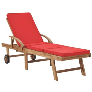 Espreguiçadeira com almofadão madeira teca maciça vermelho - PORTES GRÁTIS