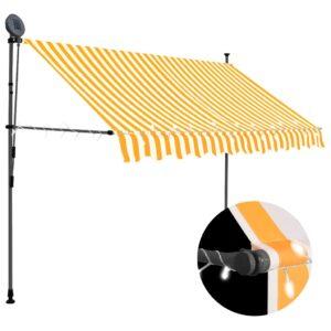 Toldo retrátil manual com LED 300 cm branco e laranja - PORTES GRÁTIS