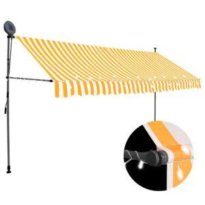 Toldo retrátil manual com LED 400 cm branco e laranja - PORTES GRÁTIS
