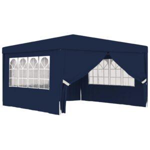 Tenda festas profissional c/ paredes laterais 4x4m 90g/m² azul - PORTES GRÁTIS