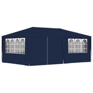Tenda festas profissional c/ paredes laterais 4x6m 90g/m² azul - PORTES GRÁTIS