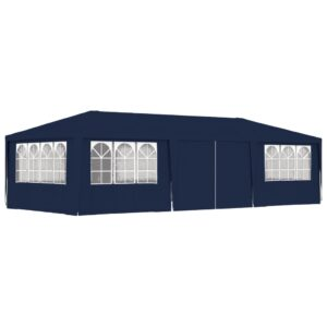 Tenda festas profissional c/ paredes laterais 4x9m 90g/m² azul - PORTES GRÁTIS