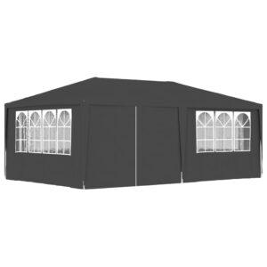 Tenda festas com paredes laterais 4x6m 90g/m² antracite - PORTES GRÁTIS