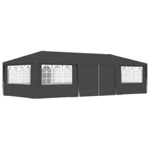 Tenda festas com paredes laterais 4x9m 90g/m² antracite - PORTES GRÁTIS