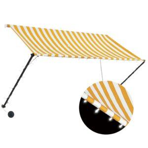 Toldo retrátil com LED 250x150 cm amarelo e branco - PORTES GRÁTIS