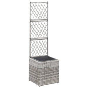 Treliça com 1 vaso 30x30x107 cm vime PE cinzento - PORTES GRÁTIS