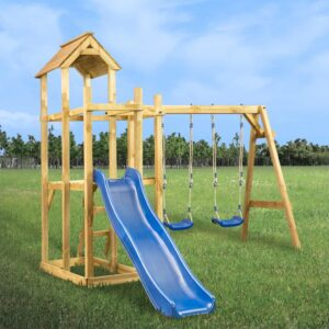 Casa de brincar com escorrega baloiço e escada 285x305x226,5 cm - PORTES GRÁTIS