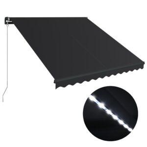 Toldo retrátil manual c/ LED 300x250 cm antracite - PORTES GRÁTIS
