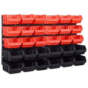 32 pcs Kit caixas arrumação com painéis parede vermelho e preto - PORTES GRÁTIS