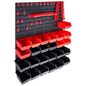 29 pcs Kit caixas arrumação com painéis parede vermelho e preto - PORTES GRÁTIS