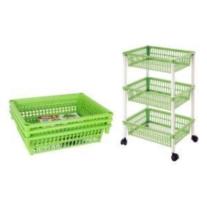 Carrinho de Vegetais Tontarelli Desmontável Plástico 3 Gavetas (40 X 29 x 62 cm) Verde