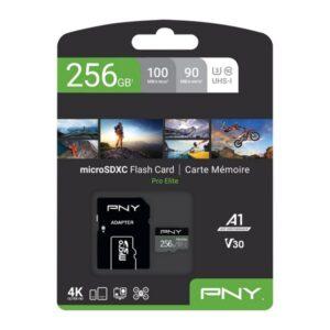 Cartão de Memória Micro SD com Adaptador PNY Pro Elite C10 256 GB