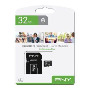 Cartão de Memória Micro SD com Adaptador PNY Performance Plus C10 32 GB
