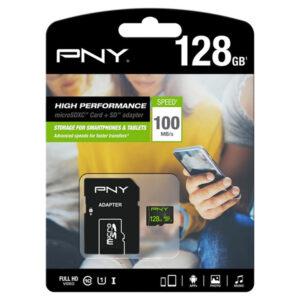 Cartão de Memória Micro SD com Adaptador PNY 100 MB/s Preto 128 GB