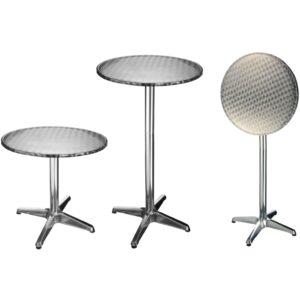 HI Mesa de bar/bistro dobrável redonda 60x60x(58-115) cm alumínio - PORTES GRÁTIS
