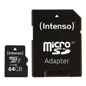 Cartão de Memória Micro SD com Adaptador INTENSO 34234 UHS-I XC Premium Preto 64 GB