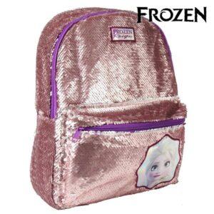 Mochila Escolar Frozen Lantejoulas Prateado Cor de rosa
