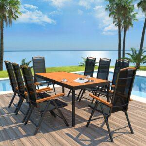 9 pcs conjunto jantar ext. c/ cadeiras dobráveis alumínio preto - PORTES GRÁTIS