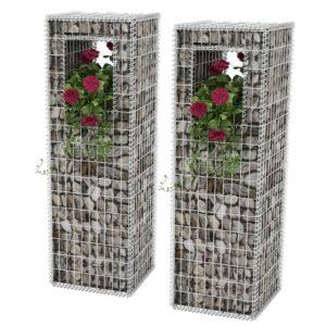 Postes/floreiras gabião 2 pcs aço 50x50x160 cm - PORTES GRÁTIS