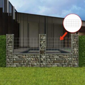 Cesto gabião em forma de U aço galvanizado 240x20x100 cm - PORTES GRÁTIS