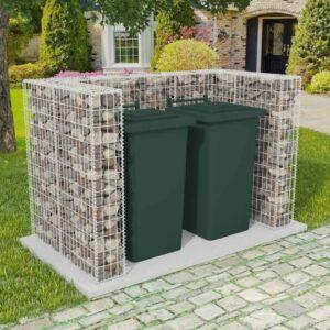 Cerca gabião para 2 caixotes do lixo aço 180x100x120 cm  - PORTES GRÁTIS