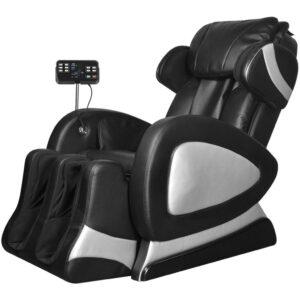 Cadeira de massagens elétrica com ecrã, couro artificial, preto  - PORTES GRÁTIS