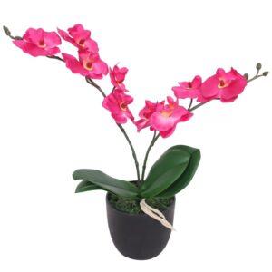 Planta orquídea artificial com vaso 30 cm vermelho - PORTES GRÁTIS