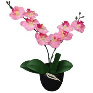 Planta orquídea artificial com vaso 30 cm rosa - PORTES GRÁTIS
