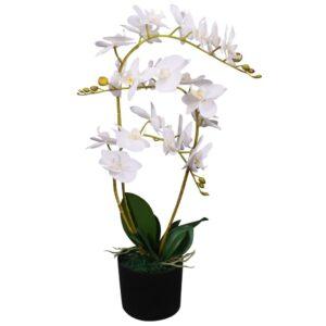 Planta orquídea artificial com vaso 65 cm branco - PORTES GRÁTIS