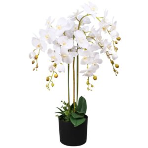 Planta orquídea artificial com vaso 75 cm branco - PORTES GRÁTIS