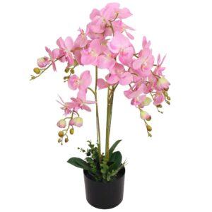Planta orquídea artificial com vaso 75 cm rosa - PORTES GRÁTIS