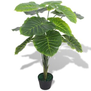 Planta taro artificial com vaso 70 cm verde - PORTES GRÁTIS