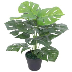 Planta costela-de-adão artificial com vaso 45 cm verde - PORTES GRÁTIS