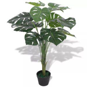 Planta costela-de-adão artificial com vaso 70 cm verde - PORTES GRÁTIS