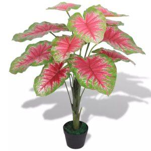 Planta caládio artificial com vaso 70 cm verde e vermelho - PORTES GRÁTIS